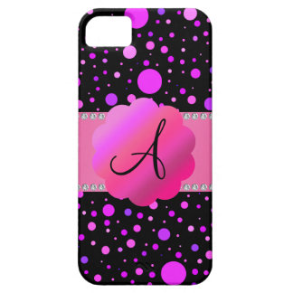 Monogram purple polka dots iPhone 5 covers