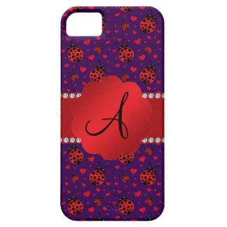 Monogram purple red ladybugs hearts iPhone 5 cases