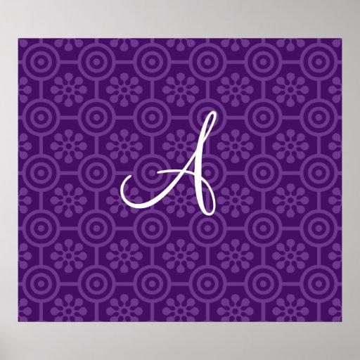 Monogram purple retro flowers and circles poster