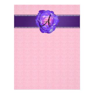 Monogram purple rose 21.5 cm x 28 cm flyer