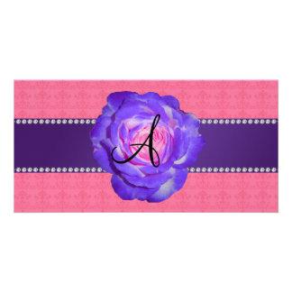 Monogram purple rose custom photo card