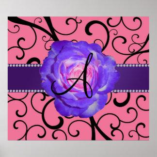 Monogram purple rose pink swirls print