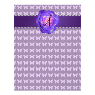 Monogram purple roses butterflies flyer