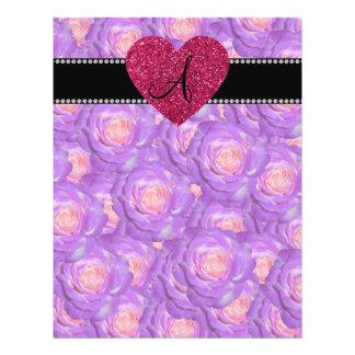 Monogram Purple roses pink heart Flyer