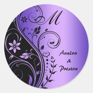 Monogram Purple Scrollwork Flower Wedding Round Sticker