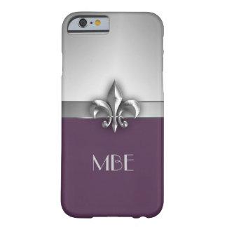 Monogram Purple Silver Faux Metal Fleur de Lis Barely There iPhone 6 Case