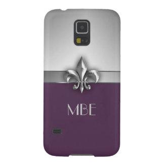 Monogram Purple Silver Faux Metal Fleur de Lis Galaxy S5 Cases
