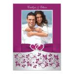 Monogram Purple Silver Floral PHOTO Wedding Invite