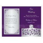 Monogram Purple, Silver Floral Wedding Program 2 Flyer Design