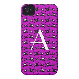 Monogram purple skulls pattern Case-Mate iPhone 4 case