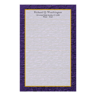 Monogram Purple Steel Brick Fine Lined Stationery
