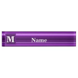 Monogram purple stripes name plate