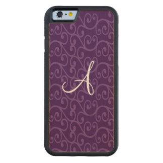 Monogram purple swirls carved® maple iPhone 6 bumper case