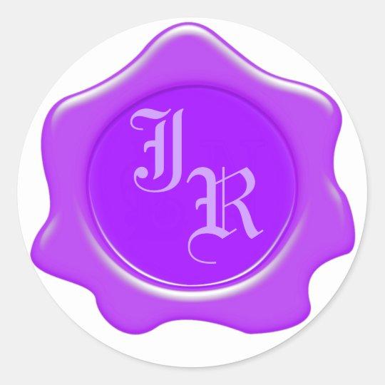 Monogram Purple Wax Seal Wedding Stickers