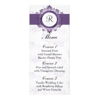 monogram purple wedding menu