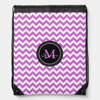 Monogram Purple White Abstract Chevron Drawstring Bag
