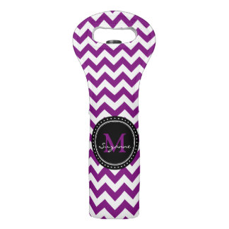 Monogram Purple White Abstract Chevron Wine Bag