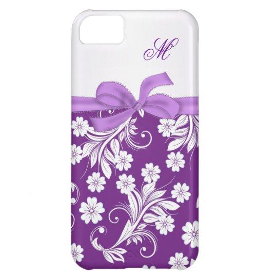 Monogram Purple white floral swirls iPhone 5C Case