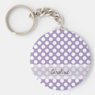 Monogram Purple White Trendy Fun Polka Dot Pattern Basic Round Button Key Ring