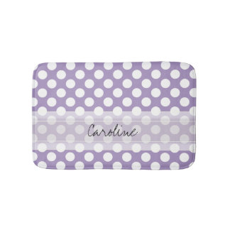 Monogram Purple White Trendy Fun Polka Dot Pattern Bath Mat