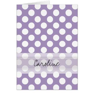 Monogram Purple White Trendy Fun Polka Dot Pattern Card