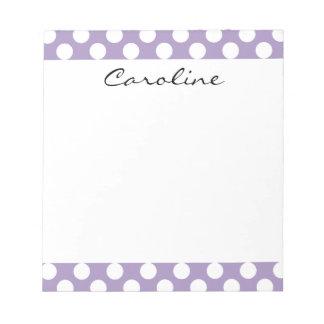Monogram Purple White Trendy Fun Polka Dot Pattern Notepad