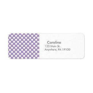 Monogram Purple White Trendy Fun Polka Dot Pattern Return Address Label