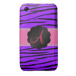 Monogram purple zebra stripes iPhone 3 Case-Mate case