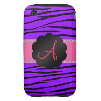 Monogram purple zebra stripes iPhone 3 tough cover