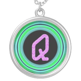 """Monogram """"Q"""" Round Pendant Necklace"""