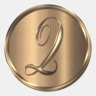 Monogram Q NONMETALLIC Bronze Envelope Seal Round Sticker