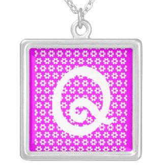 Monogram Q Square Pendant Necklace