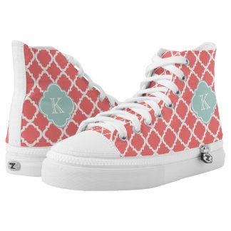 Monogram Quatrefoil Coral Mint Pattern High Tops