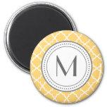 Monogram Quatrefoil Magnet - yellow