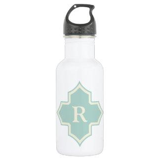 Monogram Quatrefoil Mint Frame Pattern 532 Ml Water Bottle