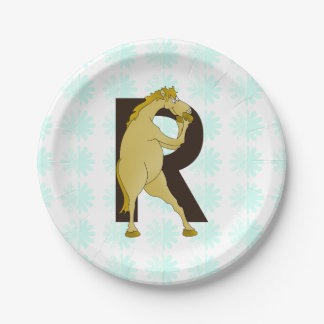 Monogram R Funny Pony Personalised 7 Inch Paper Plate