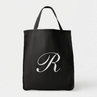 Monogram R Jumbo Tote Bag<Black> Grocery Tote Bag