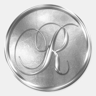 Monogram R NONMETALLIC Silver Envelope Seal Round Sticker