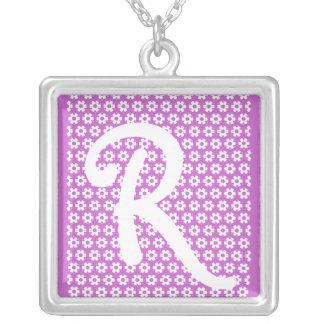 Monogram R Square Pendant Necklace