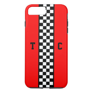 Monogram Race Car Checkered Pattern with Red iPhone 8 Plus/7 Plus Case