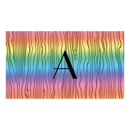 Monogram rainbow faux bois business card