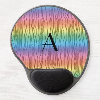 Monogram rainbow faux bois gel mouse pad