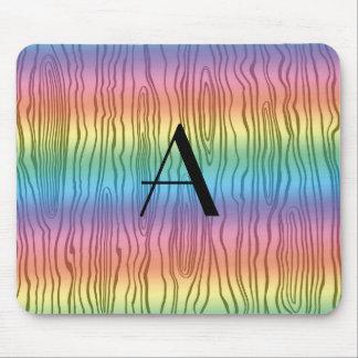 Monogram rainbow faux bois mouse pad
