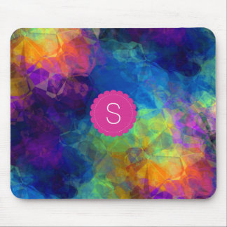 Monogram Rainbow Geologic Crystal Abstract Pattern Mouse Mat