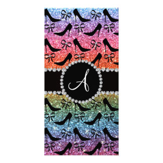 Monogram rainbow glitter black high heels bow photo greeting card