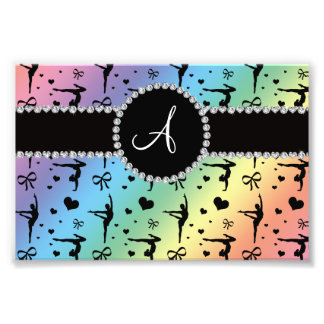 Monogram rainbow gymnastics hearts bows photo print