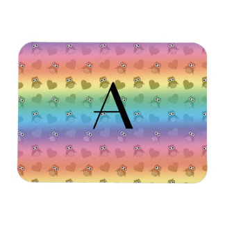 Monogram rainbow owls and hearts rectangle magnet