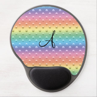 Monogram rainbow pearl polka dots gel mouse pad