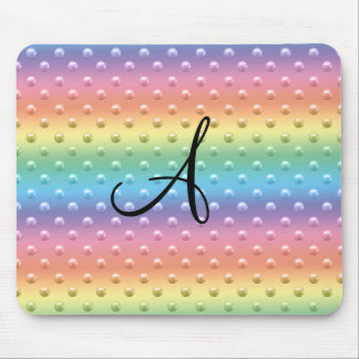 Monogram rainbow pearl polka dots mouse pads