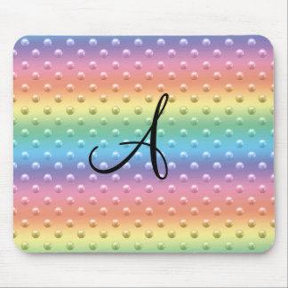Monogram rainbow pearl polka dots mouse pad